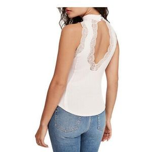 FREE PEOPLE Victorian Lace High Neck Tank XS